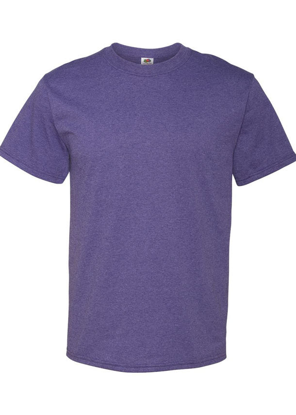 Men's Fruit of the Loom 50/50 Crew Neck Retro Heather Purple Tshirt