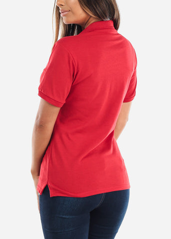 Women's Jerzees Red Polo Shirt