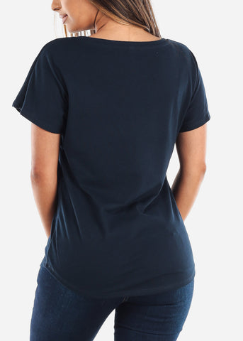 Scoop Neck Dolman Navy Tshirt