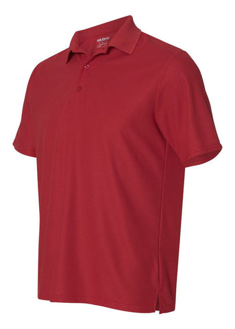 Men's Gildan Performance 100% Polyester Jersey Sport Red Polo Shirt