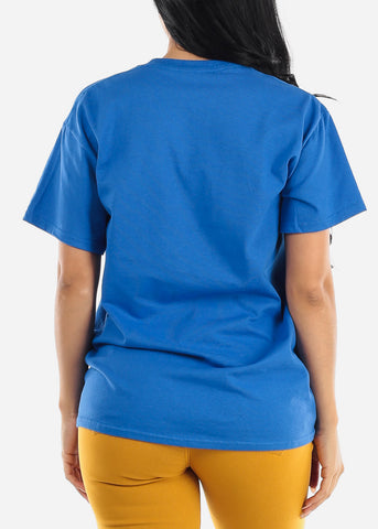 "Unisex Blue Graphic T-Shirt ""Keep The Distance"""