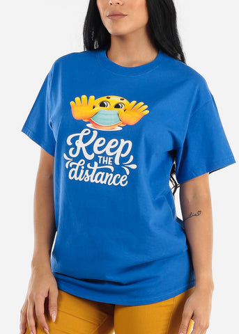 "Image of Unisex Blue Graphic T-Shirt ""Keep The Distance"""