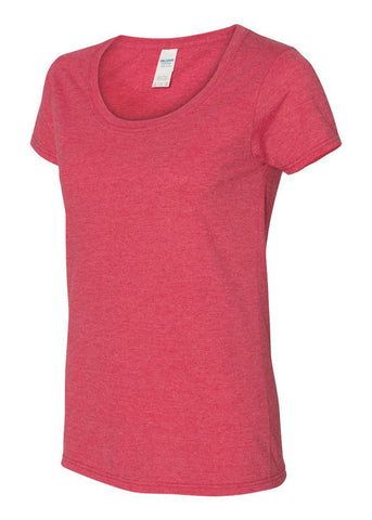 Image of Scoop Neck Basic Heather Red Tshirt