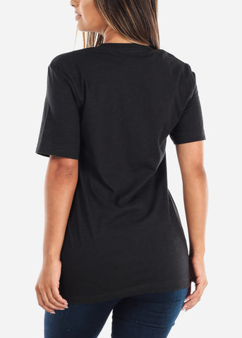 Image of Crew Neck Basic Black Heather Tee
