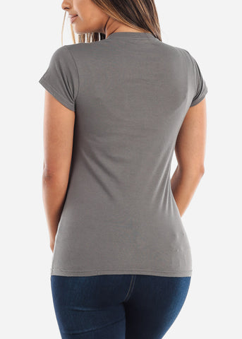 Crew Neck Basic Charcoal Tshirt
