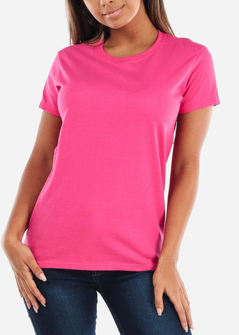 Image of Discount Crew Neck Basic Pink Tshirt