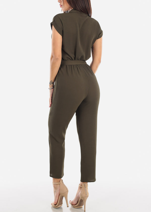 Short Sleeve Straight Leg Olive Jumpsuit