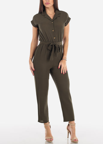 Image of Half Button Straight Leg Olive Jumpsuit