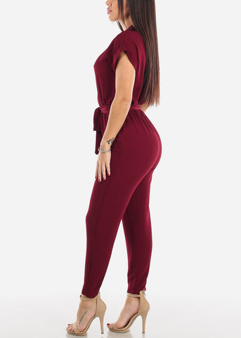 Image of Half Button Straight Leg Burgundy Jumpsuit
