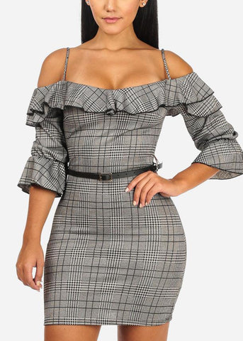 Image of Ruffle Open Shoulder Plaid Dress