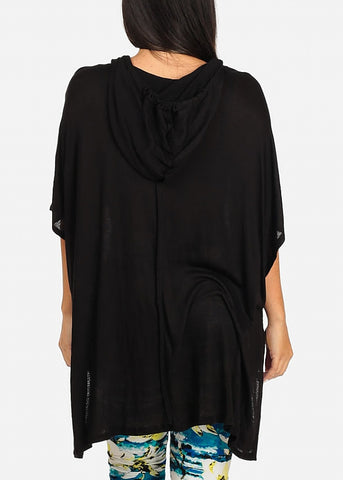 Hooded Black Tunic Top