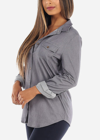 Image of Women's Junior ladies Grey Stylish Button Up Roll Up Sleeve Blouse Top For Office Business Career Wear On Sale Affordable Price