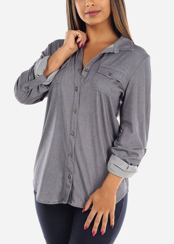 Women's Junior ladies Grey Stylish Button Up Roll Up Sleeve Blouse Top For Office Business Career Wear On Sale Affordable Price
