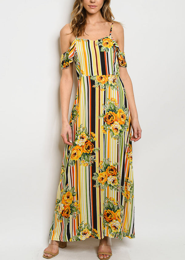 Floral & Stripe Yellow Dress