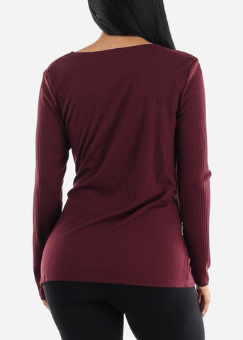 PLUS SIZE Burgundy Wrap Front Long Sleeve Top