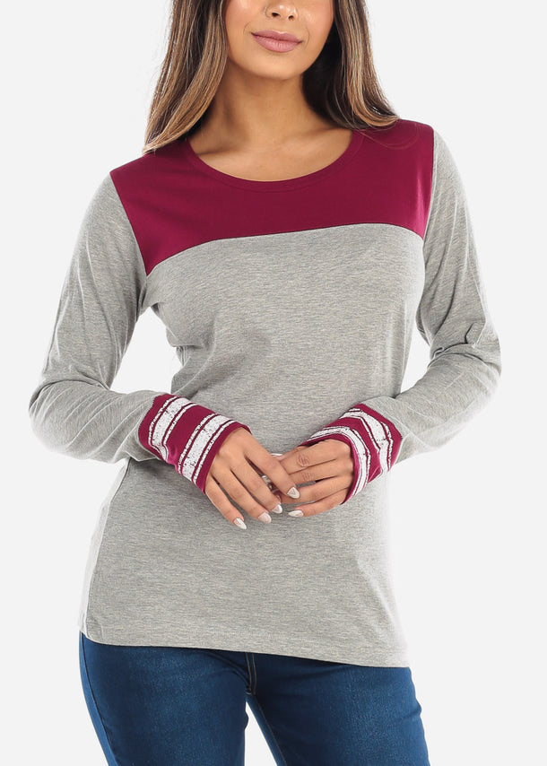 Two Tone Burgundy Top