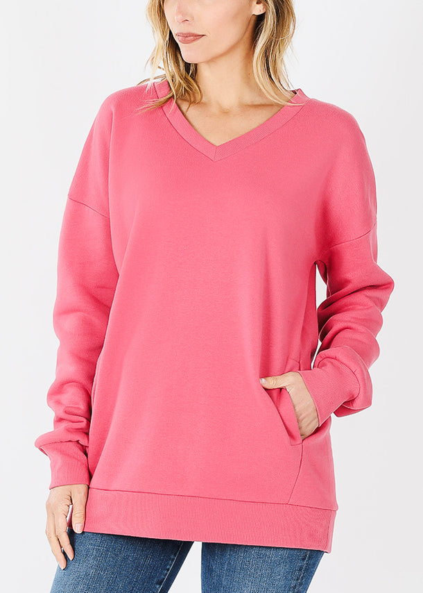 Rose V-Neck Sweatshirt W Pockets