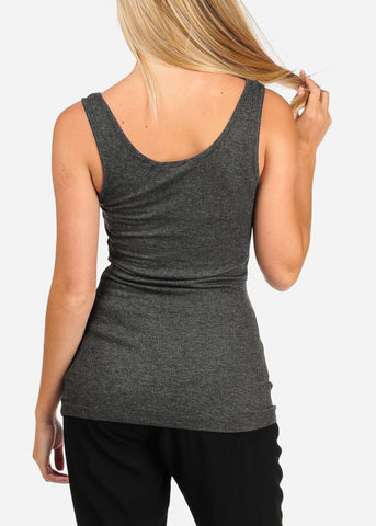 Women's Junior Basic Charcoal Sleeveless Slip On Style Comfy Stretchy Essential Top