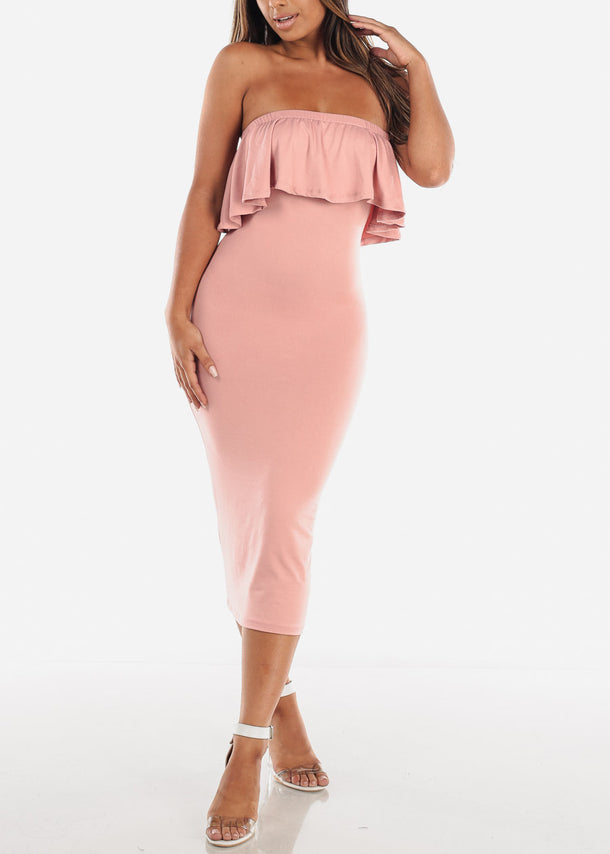 Strapless Mauve Bodycon Midi Dress