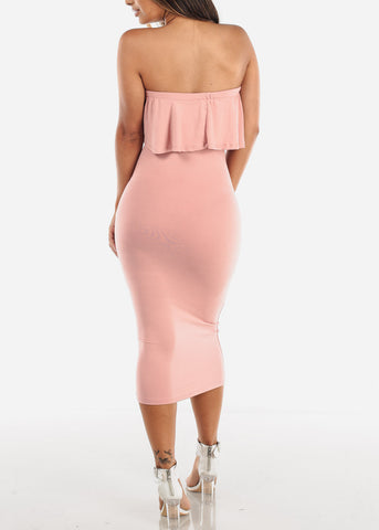 Image of Strapless Mauve Bodycon Midi Dress