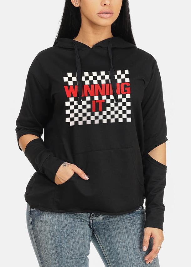 Winning it Graphic Black Hoodies