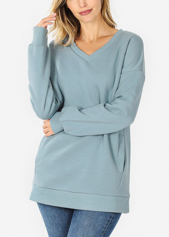 Image of Blue Grey V-Neck Sweatshirt W Pockets