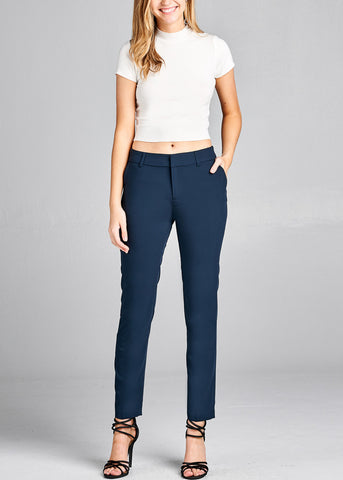 Navy Straight Leg Dress Pants