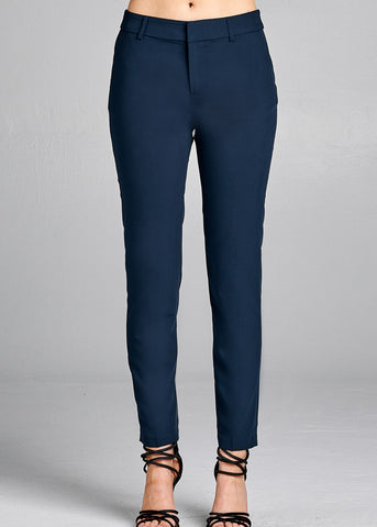 Image of Navy Straight Leg Dress Pants