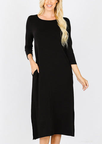 Black Mid Length Boxy Dress