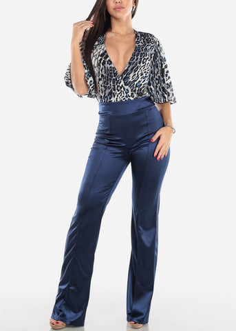 Image of High Rise Blue Satin Pants