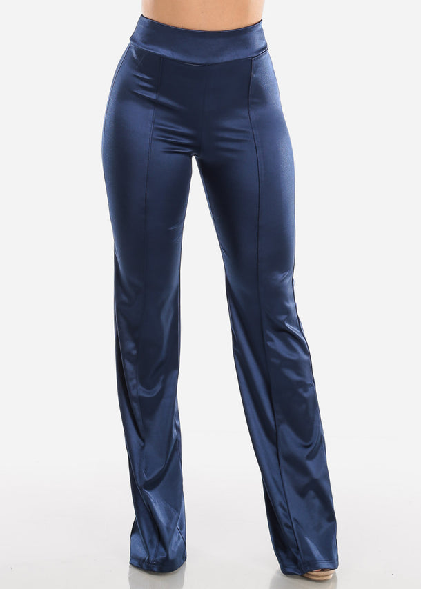 High Rise Blue Satin Pants
