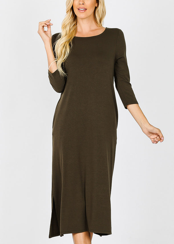 Olive Mid Length Boxy Dress