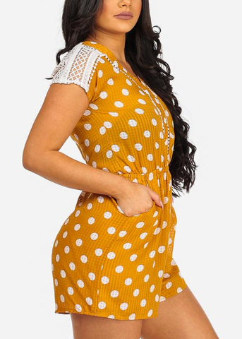 Image of Cute Yellow Flowy Polka Dot Crochet Detail Romper