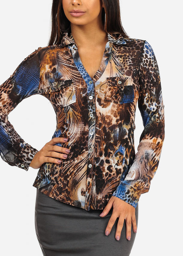 Stylish Button Up Neckline Multicolor Animal Print Blouse Top