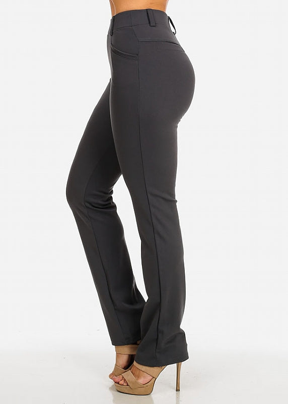 Solid High Waist Dressy Pants (Grey)