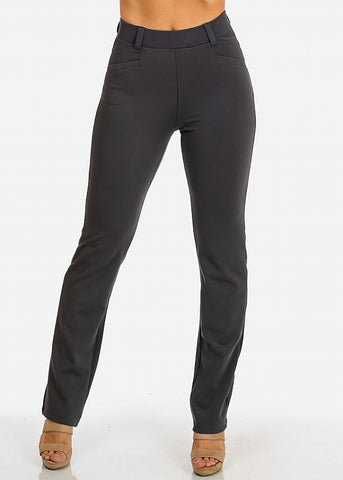 Image of Solid High Waist Dressy Pants (Grey)