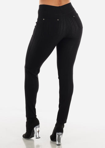 Black Pull-On Skinny Jeggings