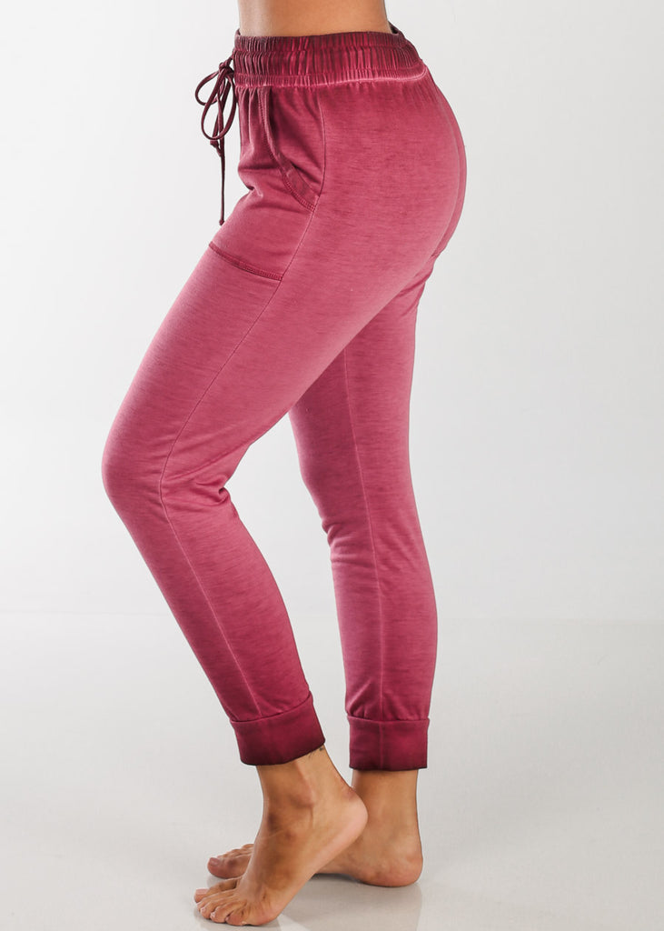 Red Ankle Jogger Pants