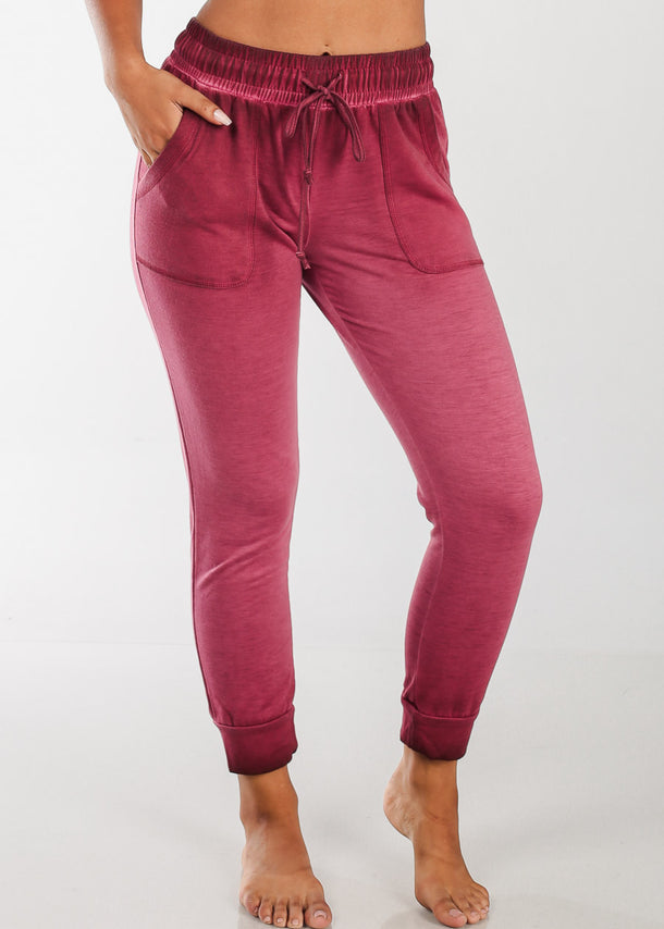 Cheap Red Ankle Jogger Pants