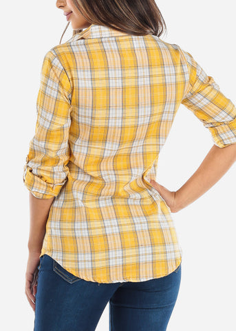 Image of Yellow Plaid Button Down Shirt