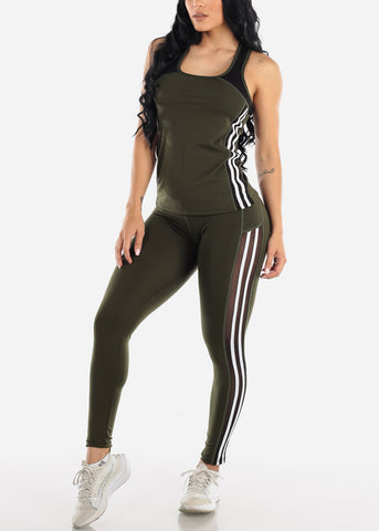 Activewear Olive Top & Pants (2 PCE SET)