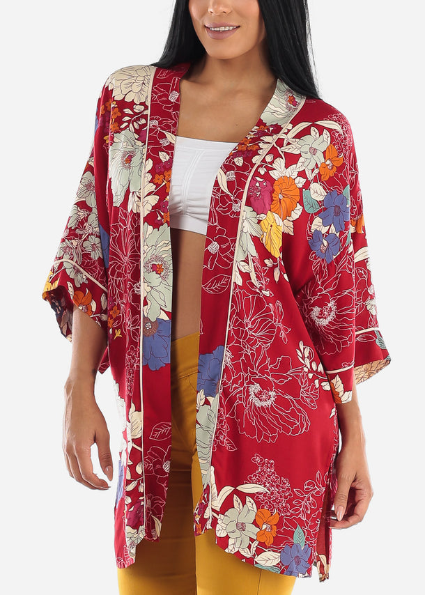 Open Front Red Floral Kimono