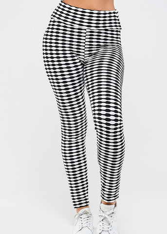 Sporty Checkered High Rise Leggings