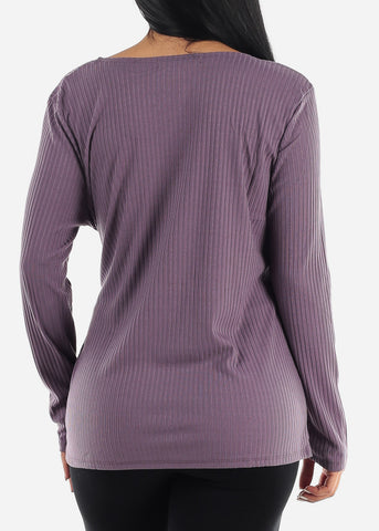PLUS SIZE Purple Wrap Front Long Sleeve Top