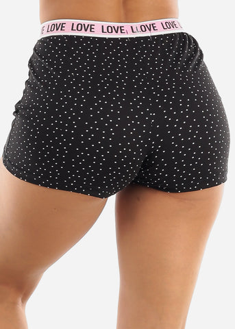 Black Elastic Band Sleep Shorts