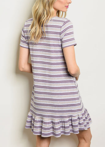 Image of Grey & Purple Striped Mini Dress