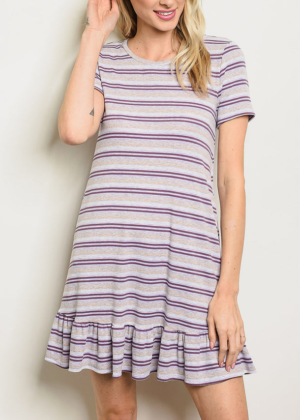 Grey & Purple Striped Mini Dress
