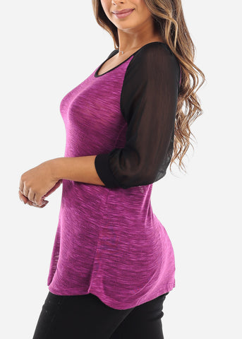 Mesh Sleeve Purple Top