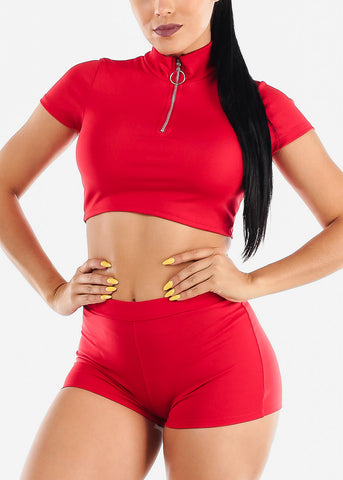 Red Zip Up Crop Top & Shorts (2 PCE SET)