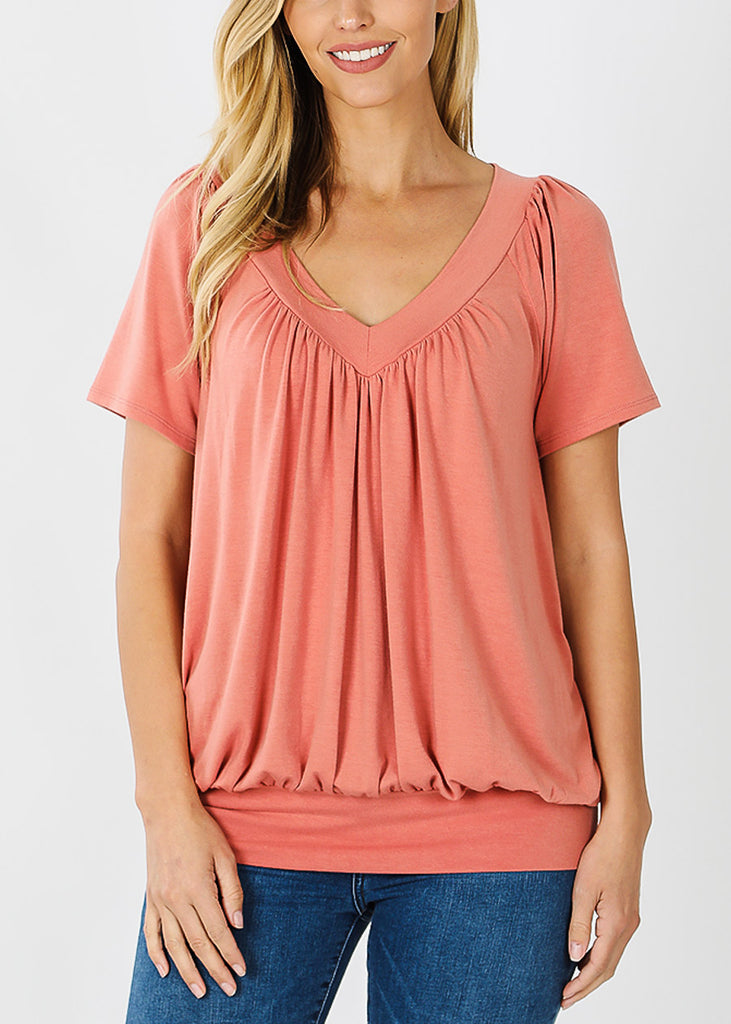 Ash Rose V-Neck Shirring Tunic Top